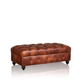 """Brooklyn"" Ottoman - Old Club Brown"