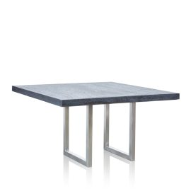 GRC Square Dining Table (Large) in Black Gloss - with Stainless Steel Base