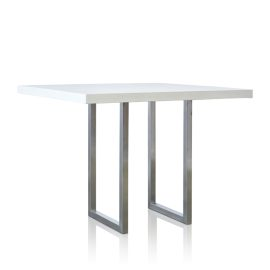 GRC Square Bar Table (Large) in White Gloss - with Stainless Steel Base