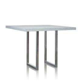 GRC Square Bar Table (Large) in Grey Matte - with Stainless Steel Base