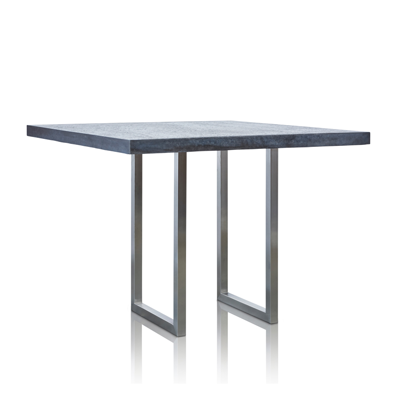 GRC Square Bar Table (Large in Black Gloss - with Stainless Steel Base