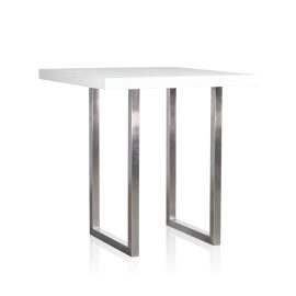 GRC Square Bar Table (Small) in White Gloss - with Stainless Steel Base