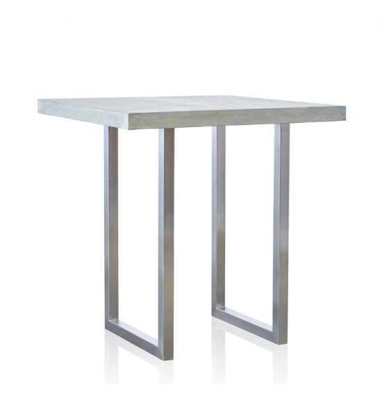 GRC Square Bar Table (Small) in Grey Matte - with Stainless Steel Base