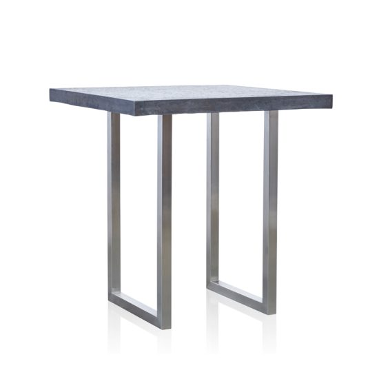 GRC Square Bar Table (Small) in Black Gloss - with Stainless Steel Base