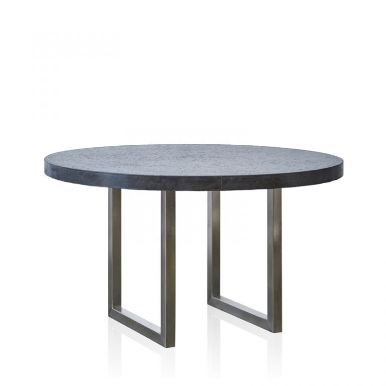 GRC Round Dining Table in Black Gloss - with Stainless Steel Base