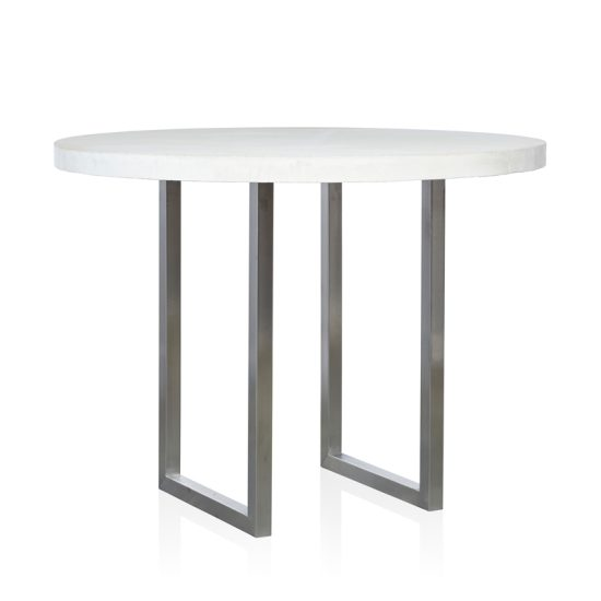 GRC Round Bar Table in White Gloss - with Stainless Steel Base