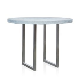 GRC Round Bar Table in Grey Matte - with Stainless Steel Base