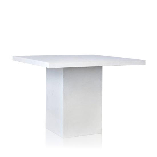 GRC Square Bar Table in White Gloss - with GRC Base