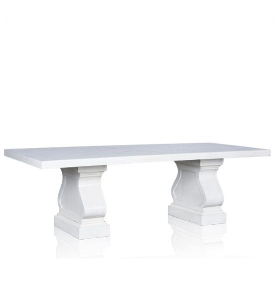 GRC Dining Table in White Gloss- with GRC Base  - Small